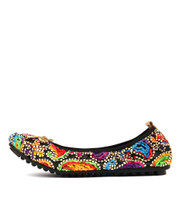BELLIN Ballet Flats in Black Boho Fabric