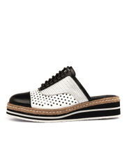 TOBY Lace-up Flatform in Black/ White Multi Leather