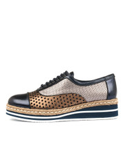 TIARA Lace-up Flatform in Navy/Bronze Multi Leather
