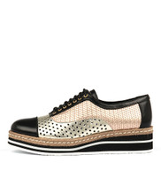 TIARA Lace-up Flatform in Black/Gold Multi Leather