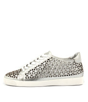 GEZ Lace-up Sneakers in White/Silver Leather