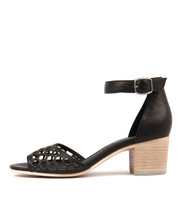 BETHAN Heeled Sandals in Black Leather