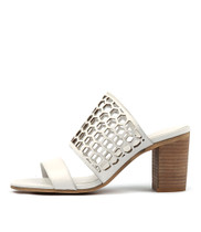 VASSAR Heeled Sandals in White Leather