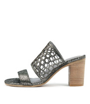 VASSAR Heeled Sandals in Pewter Crackle Leather