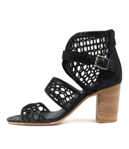 VANAS Heeled Sandals in Navy Crackle Leather