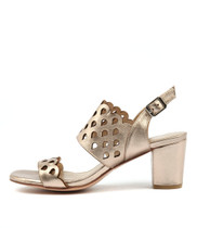 CARINE Heeled Sandals in Champagne Leather