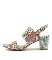 CARINE Heeled Sandals in Pastel/Multi Leather