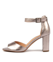 TILIA Heeled Sandals in Light Pewter Leather