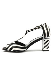 NEVE Heeled Sandals in Black/White Leather