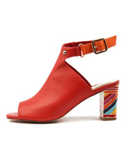 NICEST Heeled Sandals in Red/ Multi Leather