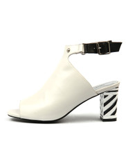 NICEST Heeled Sandals in White/ Multi Leather