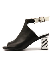 NICEST Heeled Sandals in Black/ Multi Leather