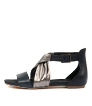 JANJIA Sandals in Navy/ Pewter Leather