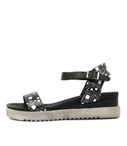 ABENA Sandals in Black/White Leather