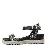 ABENA Sandals in Black/White Leather