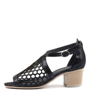 BEVINIA Heeled Sandals in Navy Crackle Leather