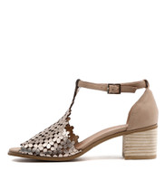 DRESSIE Heeled Sandals in Champagne/ Latte Leather