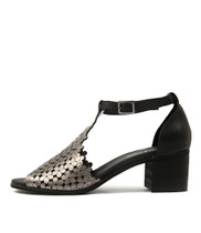 DRESSIE Heeled Sandal in Pewter/ Black Leather
