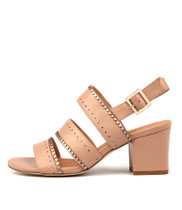 LETTER Heeled Sandals in Dark Nude/ Champagne Leather