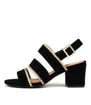 LETTER Heeled Sandals in Black/ Gold Suede