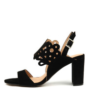 TEXAN Heeled Sandals in Black Suede