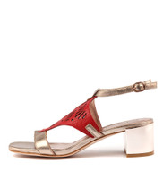 KANIN Heeled Sandals in Champagne/ Red Leather