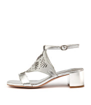 KANIN Heeled Sandals in Silver/ Blue Leather