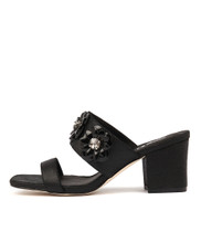 LAVERNA Heeled Sandals in Black Dust Leather