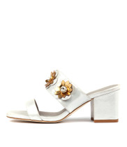 LAVERNA Heeled Sandals in Silver Dust Leather