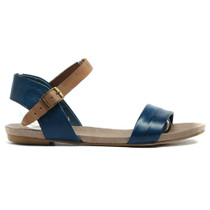 Jinnit Flat Sandals in Navy and Taupe Leather