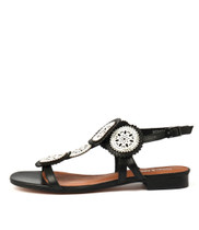 PERSIA Sandals in Black / White Leather