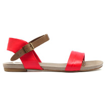 Jinnit Flat Sandals in Red and Taupe Leather