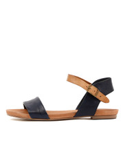 JINNIT Sandals in Navy/ Tan Leather