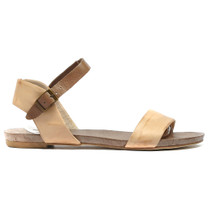 Jinnit Flat Sandals in Beige and Taupe Leather