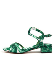 BELLIBOS Heeled Sandals in Green Palms Fabric