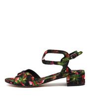 BELLIBOS Heeled Sandals in Black Flamingo Fabric