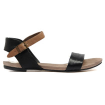 Jinnit Flat Sandals in Black and Taupe Leather