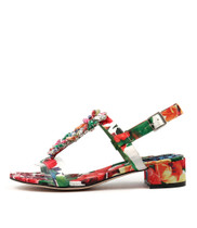 BLOOMS Heeled Sandals in White/ Multi Leather