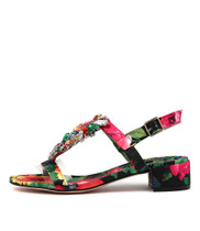BLOOMS Heeled Sandals in Black/ Bright Multi Leather