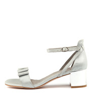 KAYOS Heeled Sandals in Dark Silver Cut Leather