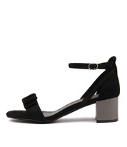 KAYOS Heeled Sandals in Black Cut Leather