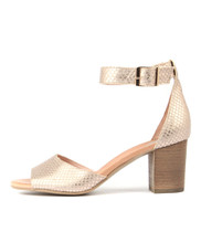 SLUSHIE Heeled Sandals in Pale Rose Gold Cut Leather