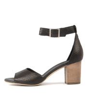 SLUSHIE Heeled Sandals in Black Cut Leather