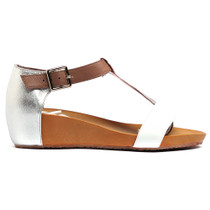 Woro Wedge T-Bar Sandals in White Leather