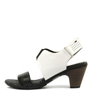 FRITZ Heeled Sandal in Black/ White Leather