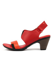 FRITZ Heeled Sandals in Orange/ Red Leather