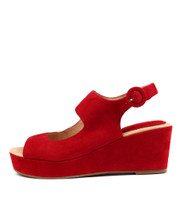 DULY Platform Wedges in Red Suede