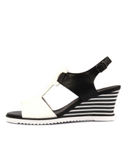 UMIKA Wedge Sandals in Black/ White Leather