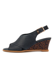 ULOHIN Wedge Sandals in Navy Leather