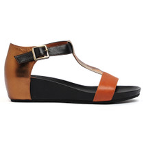 Woro Wedge T-Bar Sandals in Tan Leather